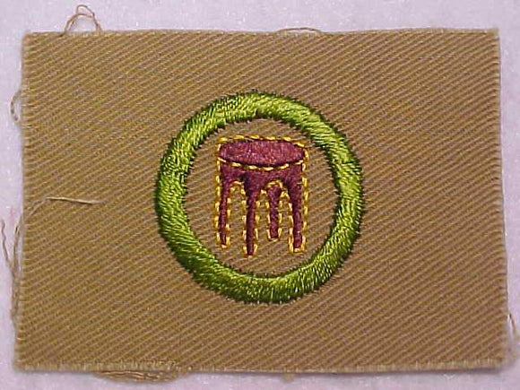 WOODWORK MERIT BADGE, SQUARE, 1927-1933, 75 X 54MM, OVERSIZED, MINT