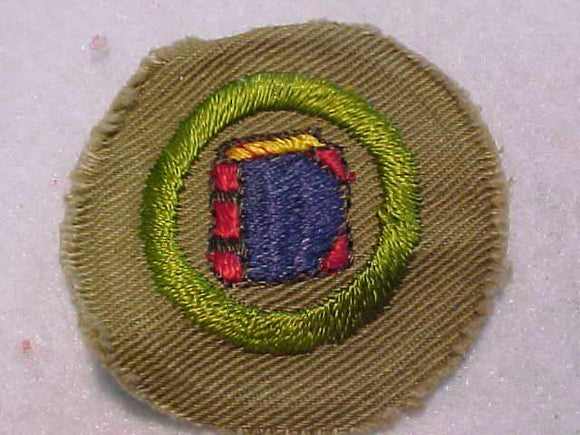 BOOKBINDING MERIT BADGE, WIDE BORDER CRIMPED, 1934-35, MINT