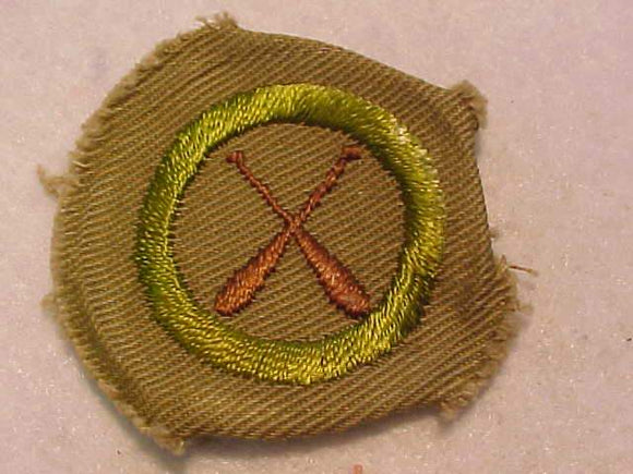 CANOEING MERIT BADGE, WIDE BORDER CRIMPED, 1934-35, MINT, RARE