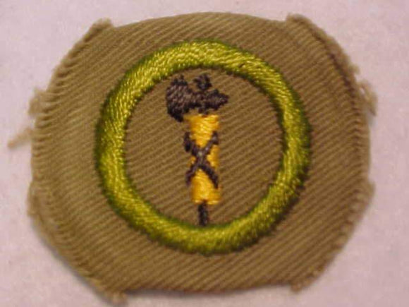 CIVICS MERIT BADGE, WIDE BORDER CRIMPED, 1934-35, MINT