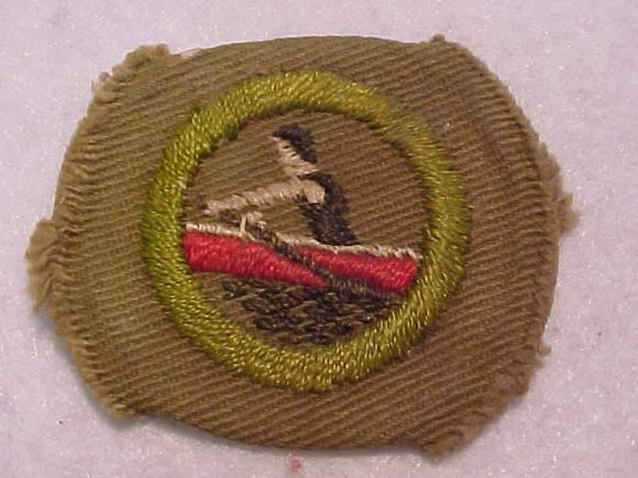 ROWING MERIT BADGE, WIDE BORDER CRIMPED, 1934-35, USED, RARE