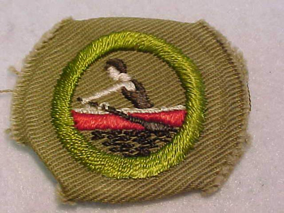 ROWING MERIT BADGE, WIDE BORDER CRIMPED, 1934-35, MINT, RARE