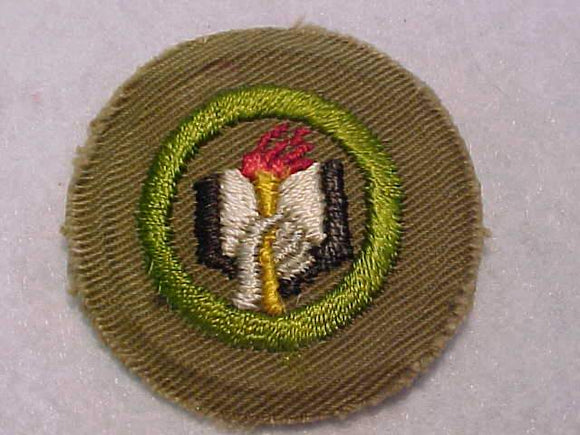 SCHOLARSHIP MERIT BADGE, WIDE BORDER CRIMPED, 1934-35, MINT