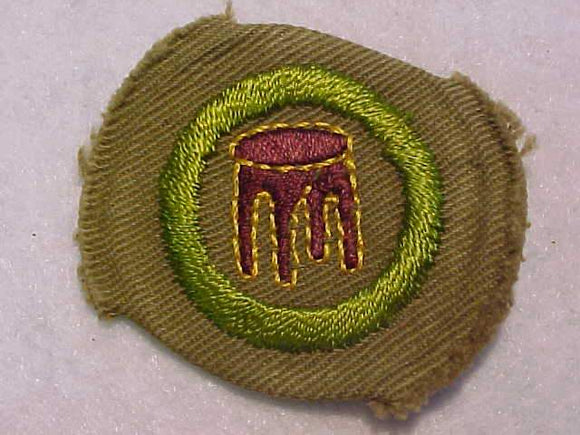 WOODWORK MERIT BADGE, WIDE BORDER CRIMPED, 1934-35, MINT
