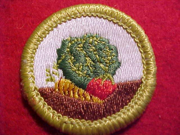 GARDENING, MERIT BADGE WITH CLEAR PLASTIC BACK, GREEN BORDER, NO IMPRINTS/LOGOS IN PLASTIC, 1972-2002