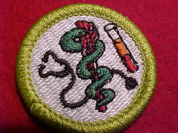 MEDICINE, MERIT BADGE WITH CLEAR PLASTIC BACK, GREEN BORDER, NO IMPRINTS/LOGOS IN PLASTIC, 1991-2002