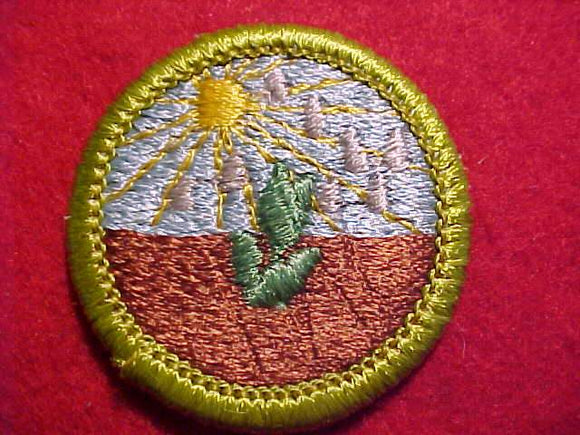 PLANT SCIENCE, MERIT BADGE WITH CLEAR PLASTIC BACK, GREEN BORDER, NO IMPRINTS/LOGOS IN PLASTIC, 1974-2002