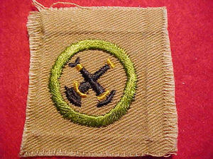 FIREMANSHIP MERIT BADGE, SQUARE, 1920'S-1933, 51X56MM