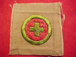 FIRST AID MERIT BADGE, SQUARE, 1920'S-33, 52X55MM