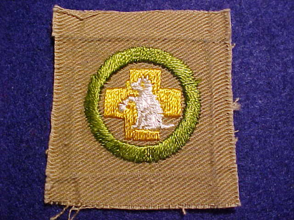 FIRST AID TO ANIMALS MERIT BADGE, SQUARE, 1920'S-1933, 50X57MM