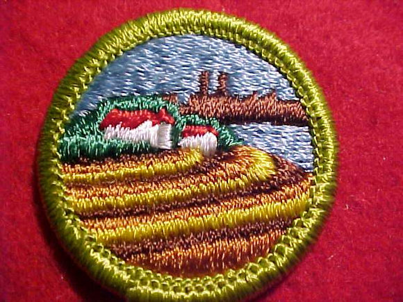 SOIL & WATER CONSERVATION, MERIT BADGE WITH CLEAR PLASTIC BACK, GREEN BORDER, NO IMPRINTS/LOGOS IN PLASTIC, 1972-2002