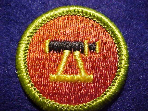 SURVEYING, MERIT BADGE WITH CLEAR PLASTIC BACK, GREEN BORDER, NO IMPRINTS/LOGOS IN PLASTIC, 1972-2002