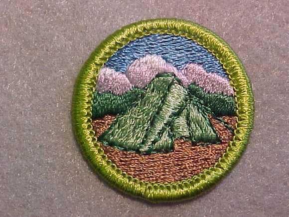 CAMPING, MERIT BADGE WITH CLEAR PLASTIC BACK, GREEN BORDER, NO IMPRINTS/LOGOS IN PLASTIC