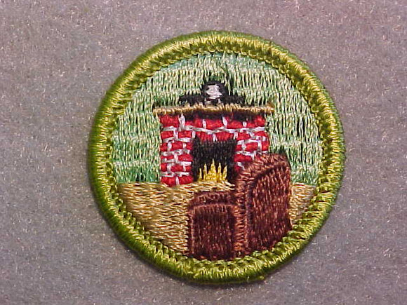CITIZENSHIP IN THE HOME, MERIT BADGE WITH CLEAR PLASTIC BACK, GREEN BORDER, NO IMPRINTS/LOGOS IN PLASTIC
