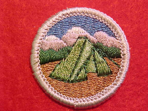 CAMPING, MERIT BADGE WITH PLASTIC BACK, SILVER BORDER, NO IMPRINTS/LOGOS IN PLASTIC