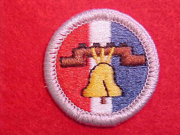 CITIZENSHIP IN THE NATION, RED/WHITE/BLUE 1975-, MERIT BADGE, PB, SILVER BORDER, NO IMPRINTS/LOGOS IN PLASTIC