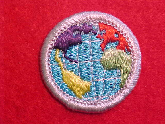 CITIZENSHIP IN THE WORLD, MERIT BADGE WITH PLASTIC BACK, SILVER BORDER, NO IMPRINTS/LOGOS IN PLASTIC
