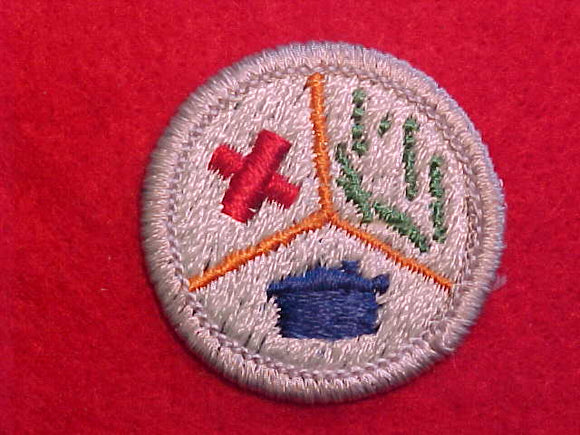 EMERGENCY PREPAREDNESS, RED CROSS 1972-79, MERIT BADGE WITH PLASTIC BACK, SILVER BORDER, NO IMPRINTS/LOGOS IN PLASTIC