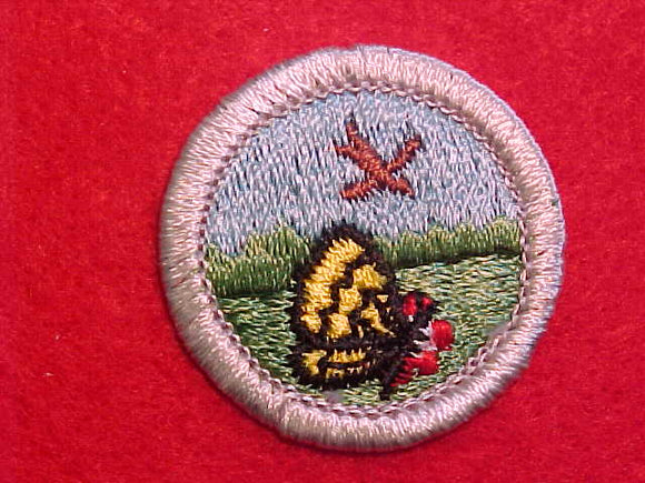 NATURE, MERIT BADGE WITH PLASTIC BACK, SILVER BORDER, NO IMPRINTS/LOGOS IN PLASTIC