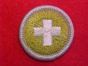 SAFETY, MERIT BADGE WITH PLASTIC BACK, SILVER BORDER, NO IMPRINTS/LOGOS IN PLASTIC