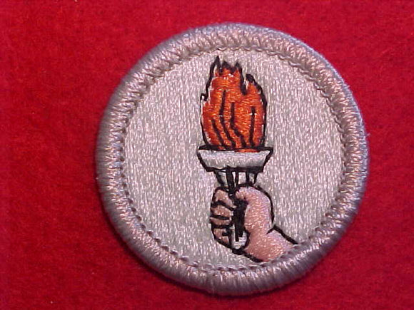 SPORTS, MERIT BADGE WITH PLASTIC BACK, SILVER BORDER, NO IMPRINTS/LOGOS IN PLASTIC