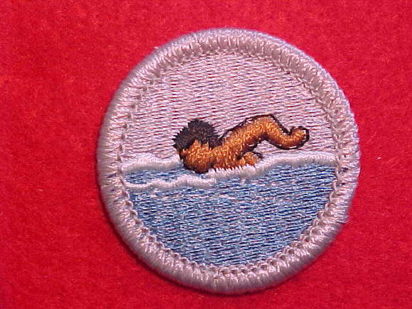 SWIMMING, MERIT BADGE WITH PLASTIC BACK, SILVER BORDER, NO IMPRINTS/LOGOS IN PLASTIC