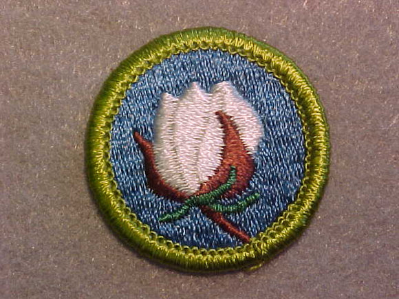 COTTON FARMING, MERIT BADGE WITH CLEAR PLASTIC BACK, GREEN BORDER, NO IMPRINTS/LOGOS IN PLASTIC