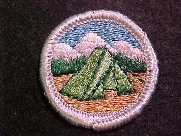 CAMPING 1969-72, MERIT BADGE WITH CLOTH BACK, SILVER BORDER, ISSUED 1969 TO 1972