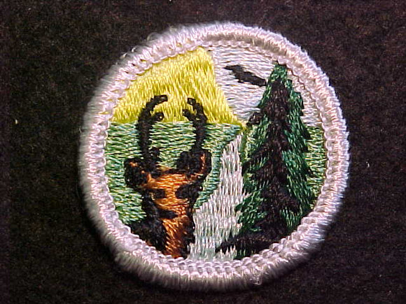 CONSERVATION OF NATURAL RESOURCES 1969-72, MERIT BADGE WITH CLOTH BACK, SILVER BORDER, ISSUED 1969 TO 1972