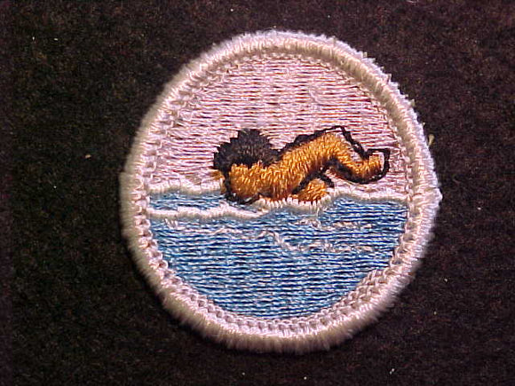 SWIMMING 1969-72, MERIT BADGE WITH CLOTH BACK, SILVER BORDER, ISSUED 1969 TO 1972