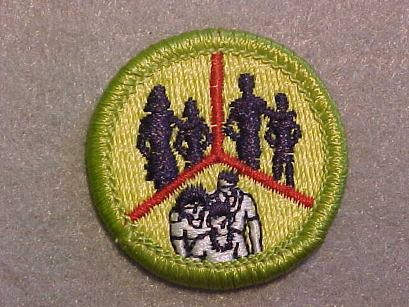 FAMILY LIFE- SKINNY PEOPLE, MERIT BADGE WITH CLEAR PLASTIC BACK, GREEN BORDER, NO IMPRINTS/LOGOS IN PLASTIC