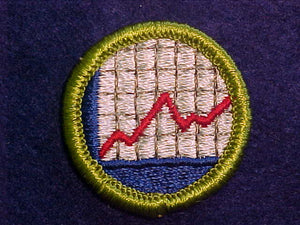 AMERICAN BUSINESS, MERIT BADGE WITH CLOTH BACK, GREEN BORDER