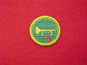 BUGLING, MERIT BADGE WITH CLOTH BACK, GREEN BORDER