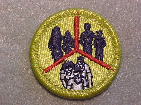 FAMILY LIFE- LARGE PEOPLE, MERIT BADGE WITH CLEAR PLASTIC BACK, GREEN BORDER, NO IMPRINTS/LOGOS IN PLASTIC
