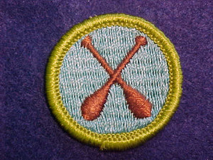 CANOEING, MERIT BADGE WITH CLOTH BACK, GREEN BORDER