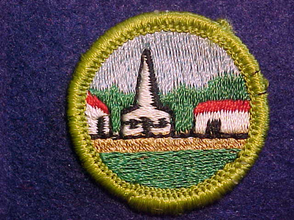 CITIZENSHIP IN THE COMMUNITY, MERIT BADGE WITH CLOTH BACK, GREEN BORDER