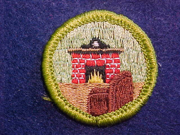 CITIZENSHIP IN THE HOME, MERIT BADGE WITH CLOTH BACK, GREEN BORDER
