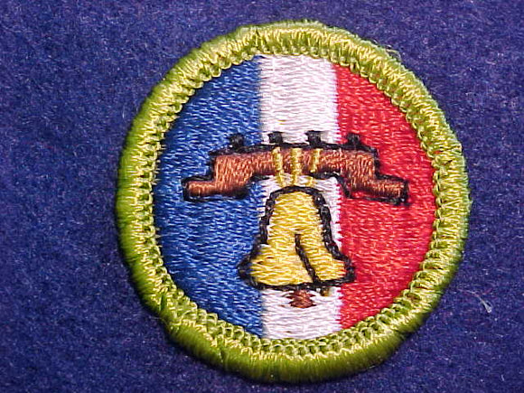 CITIZENSHIP IN THE NATION, MERIT BADGE WITH CLOTH BACK, GREEN BORDER