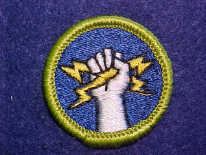 ELECTRICITY, MERIT BADGE WITH CLOTH BACK, GREEN BORDER
