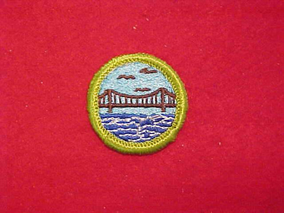 ENGINEERING, MERIT BADGE WITH CLOTH BACK, GREEN BORDER