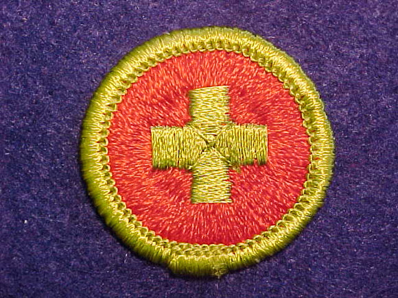 FIRST AID, MERIT BADGE WITH CLOTH BACK, GREEN BORDER