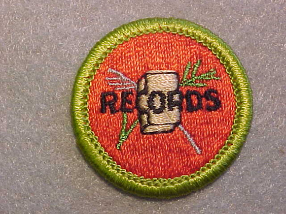 FARM RECORDS, MERIT BADGE WITH CLEAR PLASTIC BACK, GREEN BORDER, NO IMPRINTS/LOGOS IN PLASTIC