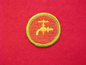 PLUMBING, MERIT BADGE WITH CLOTH BACK, GREEN BORDER, 1969-72