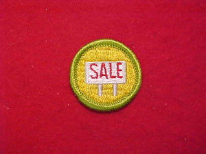 SALESMANSHIP, MERIT BADGE WITH CLOTH BACK, GREEN BORDER, 1969-72