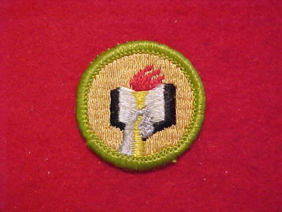 SCHOLARSHIP, MERIT BADGE WITH CLOTH BACK, GREEN BORDER, 1969-72
