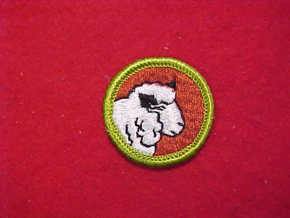 SHEEP FARMING, MERIT BADGE WITH CLOTH BACK, GREEN BORDER, 1969-72