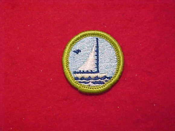 SMALL BOAT SAILING, MERIT BADGE WITH CLOTH BACK, GREEN BORDER, 1964-72