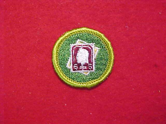 STAMP COLLECTING, MERIT BADGE WITH CLOTH BACK, GREEN BORDER, 1969-72