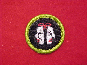 THEATER (NAMED DRAMATICS 1960-66, THEN NAME CHANGED TO THEATER, SAME DESIGN), MERIT BADGE WITH CLOTH BACK, GREEN BORDER, 1960-72