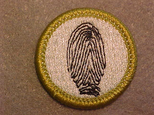FINGERPRINTING, MERIT BADGE WITH CLEAR PLASTIC BACK, GREEN BORDER, NO IMPRINTS/LOGOS IN PLASTIC